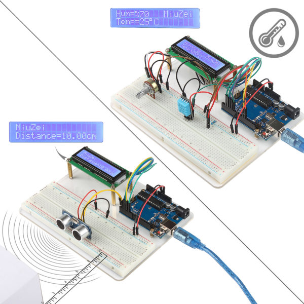 Miuzei Starter Kit for Arduino UNO R3 with Project Tutorials, 5 in 1  Holder, UNO Board, LCD 1602, Servo, Sensors for Arduino UNO R3, Mega2560,  Nano